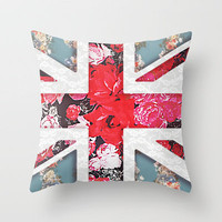God save the Queen   Elegant girly red floral & lace Union Jack  Throw Pillow by Girly Trend   Society6