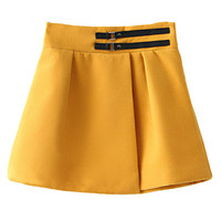 Solid Color Belt A-Line Skirt
