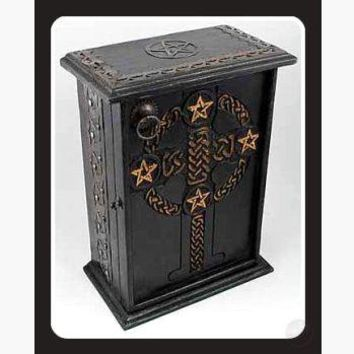 Pentagram & Celtic Cross Altar Cupboard