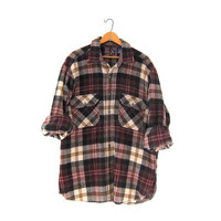 Vintage Plaid Flannel. Thick cotton Flannel. Grunge Shirt. Boyfriend button up shirt.