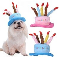 Dog Birthday Hat With Cake & Candles Design Pets Puppy Cap Cute Party Costume Accessories Headwear