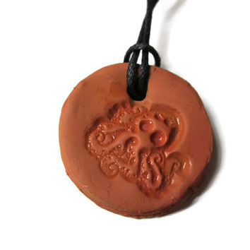 Octopus Animal Necklace, Aromatherapy Jewelry, Essential Oil Diffuser, Terra Cotta Clay Pendant, Sea Creature