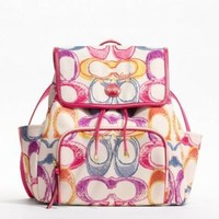 Coach Signature Stripe Scribble Print Backpack, Style 21962 Multicolor