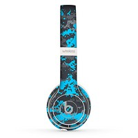 The Bright Blue and Gray Digital Camouflage Skin Set for the Beats by Dre Solo 2 Wireless Headphones