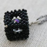 cube necklace, black necklace, black beaded pendant, seed bead necklace, beaded necklace, victorian necklace, necklace for her