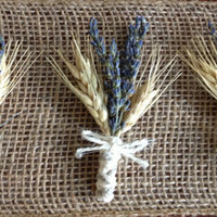 Handmade Wedding Boutonnieres - Lavender, Blond Wheat, Twine, Country Rustic