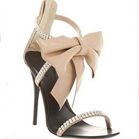 Nude Bow Rhinestone High Heel Sandals