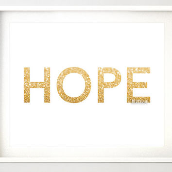 "10x8"" & 7x5""- Gold Christmas printable art ""HOPE"" gold glitter typography quote print, holiday wall decor, hope printable, gold word -gp188"
