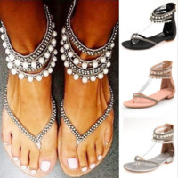 Fashion Summer Women Toepost Bandage Zipper Flat Sandal