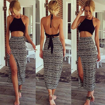 Halter Backless Crop Tops and Maxi Skirt Two Pieces Dress Set