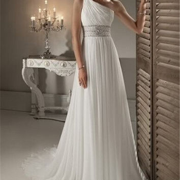 Cheap Price ! 2014 New Beading Crystals One Shoulder White / Ivory Wedding Dresses OW 2042 In Stock = 1956883908