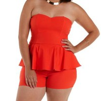 Plus Size Red Strapless Peplum Romper by Charlotte Russe