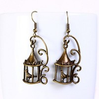 Antique brass bird in a cage drop dangle earrings (567)