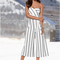 White Stripes Strapless Jumpsuit