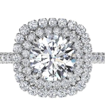Double French-Set Halo Diamond Band Engagement Ring - in 14kt White Gold (0.75 CTW) with a 1.33 Carat, Round Diamond | Ritani