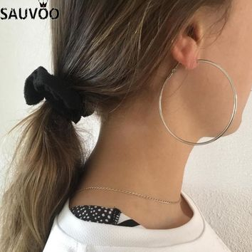 SAUVOO 2018 Round Big Hoop Earrings For Women Exaggerated Gold Rhodium Color Large Circle Basketball Earrings Hoops Jewelry Gift