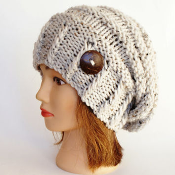 Natural White Tweed slouch hat women - beanies hat - Slouchy Beanie - Irish chunky hat - Chunky Knit accessory, Slouchy knitted hat button