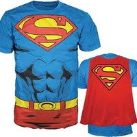 Superman Chest with Attachable Cape Mens Royal Blue Costume T-Shirt Tee - Superhero Costume T-Shirts - | TV Store Online