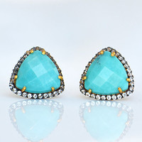 Natural Turquoise Pavé White Topaz Cushion cut Earrings - faceted gemstone - December Birthstone
