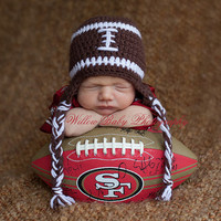 READY Baby Boy Hat - Baby Football Hat - Football Hat with Earflaps and Ties