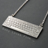 Keyboard Necklace for Computer Nerd by BabyLovesPink on Etsy