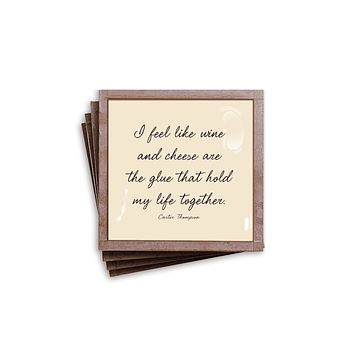 Ben's Garden I Feel Like Wine Copper Quote Coaster Set, Set of 4