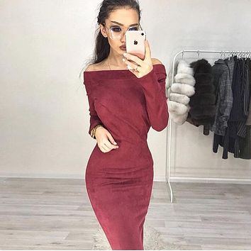 Long Sleeve Women's Fashion Hot Sale One Piece Dress [132689756180]