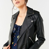 UO Faux Leather Belted Moto Jacket | Urban Outfitters