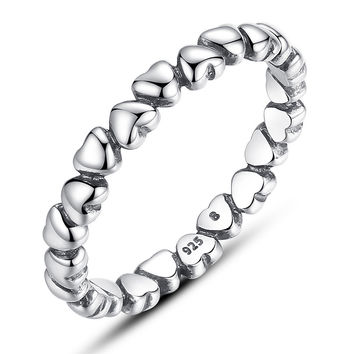 Size 6 Authentic 925 Sterling  LOVE Heart Compatible with fits Pandora Ring Crystal  925 Original Anniversary Jewelry