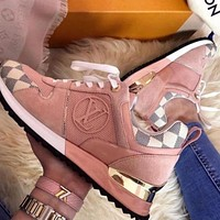 Louis Vuitton LV AAA Women's Color Block Plaid Casual Sneakers Shoes