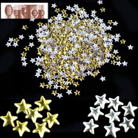 GRACEFUKL Nail Art Sticker Gold Silver 5mm Star Metal Studs for Nails Phone Nail Decoration OCT12
