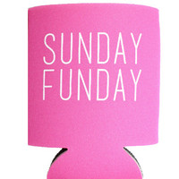 SUNDAY FUNDAY Koozie - Pink, Coral, Black, Red