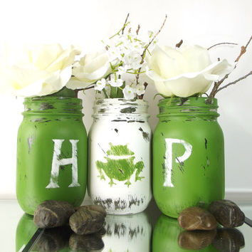 Spring, Home Decor - Hand Painted Mason Jars   Rustic - Style, Green and White Painted Mason Jars