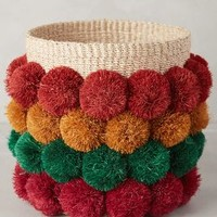 Dusky Pom Basket by Anthropologie in Red Motif Size: One Size House & Home