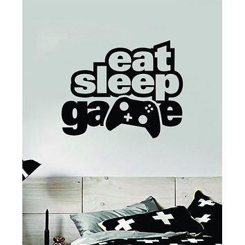 Eat Sleep Game V8 Wall Decal Quote Home Room Decor Art Vinyl Sticker Funny Gamer Gaming Nerd Geek Teen Video Kids Baby Boys Xbox Ps4