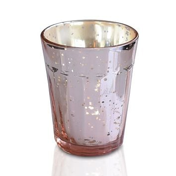 Vintage Mercury Glass Candle Holder (3.25-Inch, Katelyn Design, Column Motif, Rose Gold Pink) - Use with Tea Lights - Home and Wedding Decorations