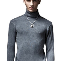 Solid Knit Turtleneck Pullover Sweater