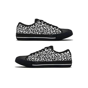 Black & White Leopard - Low Top Canvas Shoes