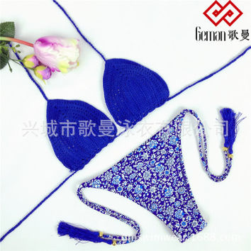 Floral Printed Handmade Knit Floral Printed Bikini Swim Suit Beach Bathing Suits Swimwear _ 12923