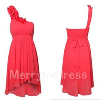 Watermelon Red One-shoulder Flower Empired Short Bridesmaid Celebrity Dress, Chiffon Formal Evening Party Prom Dress Homecoming Dress