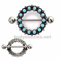 Antique Turquoise Beaded 316L Surgical Steel Nipple Shield  Nipple Barbell 14ga Surgical Steel