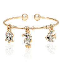Sweet & Soft Gold & White Sea Creatures Cuff Made With SWAROVSKI ELEMENTS   zulily