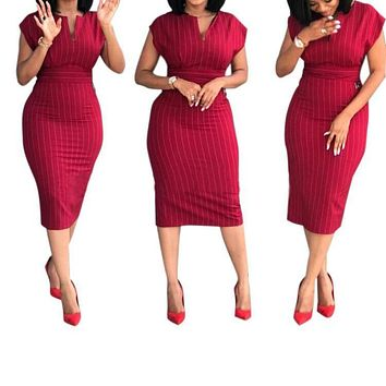 Fashion Hot Selling Stripe Stitching V-collar Back Forked Commuter Size Dresses