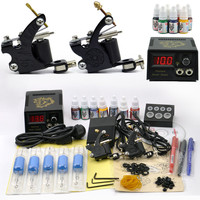 Professional Tattoo Set 2 Tatoo Guns 7 Color Inks kit tattoo complete machine rotary Power Supply body art cheap beginner