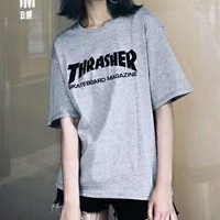 Thrasher Summer new fashion bust letter print couple loose leisure short sleeve t-shirt top Gray