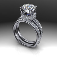 Bridal Set Forever Brilliant Moissanite and Diamond Engagement Ring 4.9 CTW