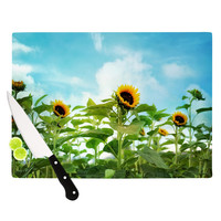 "Sylvia Cook ""Sunflower Field"" Blue Green Cutting Board"