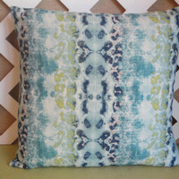 Mali Pillow Cover in Frost with Spring Blues and Greens and Touches of White