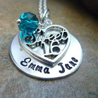 Personalized Sweet 16 Necklace Sweet 16 sixteenth birthday necklace Hand stamped jewelry