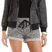 Black Combo Cuffed Drawstring French Terry Shorts by Charlotte Russe